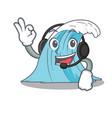 with headphone splash surf wave cartoon vector image