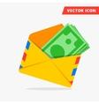 Money in post envelope flat icon vector image
