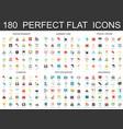 180 modern flat icons set entertainment summer vector image vector image