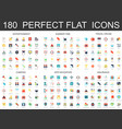 180 modern flat icons set of entertainment summer vector image vector image