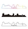 Acapulco skyline linear style with rainbow vector image vector image
