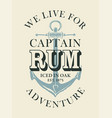 banner or label for captain rum with anchor vector image