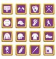 baseball icons set purple vector image vector image