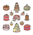 birthday or wedding celebration cream cake pie vector image