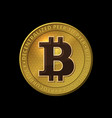 bitcoin coin on black background vector image vector image