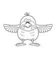black and white of funny cartoon sparrow with vector image vector image
