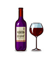 bottle of wine and glass winery alcoholic drink vector image vector image