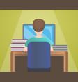 boy computer homework concept background cartoon vector image
