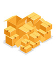 cardboard box pile isolated object isometric 3d vector image vector image