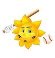 cartoon sun is playing baseball vector image