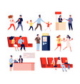 characters in movie theatre funny people going to vector image vector image