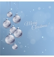 Christmas card with silver decorated balls in vector image