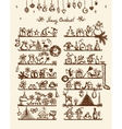 Christmas shop sketch drawing for your design vector image vector image
