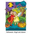 colorful halloween cute little angel and demon hug vector image vector image