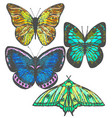 colorful set of hand-drawn butterflies vector image vector image