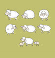 cute cartoon sheep set farm animals funny lambs vector image