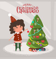 cute girl decorating christmas tree at home flat vector image