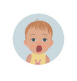 cute shocked baby emoticon scared child emoji vector image vector image