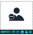 delete user icon flat vector image vector image