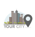 eco green modern city thin line with pointer logo vector image vector image