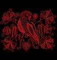 embroidery pattern with birds and flowers in folk vector image vector image