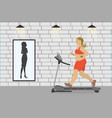 fat girl on a treadmill and silhouette a thin vector image vector image