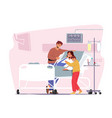father and son visiting sick mother with arm vector image vector image