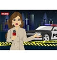Female journalist reports news about accident vector image vector image