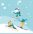 group of people practicing skiing on ice avatar vector image