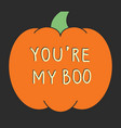 halloween card with carved pumpkins vector image