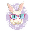 hand drawn fashion portrait of bunny vector image