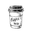 hand drawn paper coffee cup with lettering coffee vector image vector image