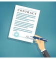 Hand signing contract on white paper vector image