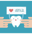Hand touch the tooth that show love dental of text vector image vector image