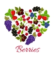 heart berries strawberry grape blueberry vector image