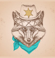 hipster animal fox hand drawing muzzle of animal vector image vector image