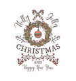 holly jolly merry christmas linear logo emblem vector image