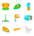 laundry icons set cartoon style vector image