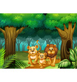 Lion family living in the forest vector image vector image