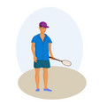 man with badminton racket cartoon vector image