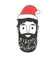 merry christmas hand drawn style with man head vector image