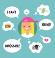 modern communication concept unhappy blond girl vector image vector image