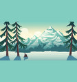 national park winter landscape cartoon vector image