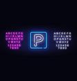 parking neon sign zone design vector image