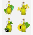 plant oil glass bottle set realistic vector image vector image