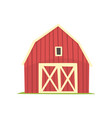 Red barn wooden agricultural building with closed