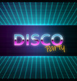 retro futuristic background 80s style disco party vector image vector image