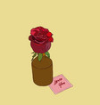 rose in vase with note love you hand draw vector image vector image