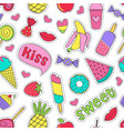 seamless pattern with sweet stickers vector image vector image