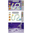 set game template with moon surface vector image vector image